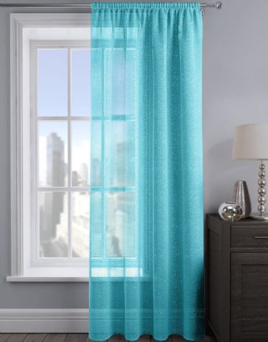 SHIMMER GLITTER SLOT TOP READY MADE STYLISH LIGHT NET VOILE CURTAIN TEAL COLOUR